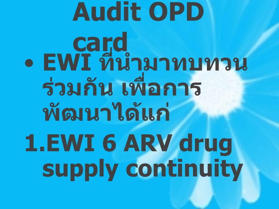 Audit OPD card EWI ที่นำมาทบทวนร่วมกัน เพื่อการพัฒนาได้แก่