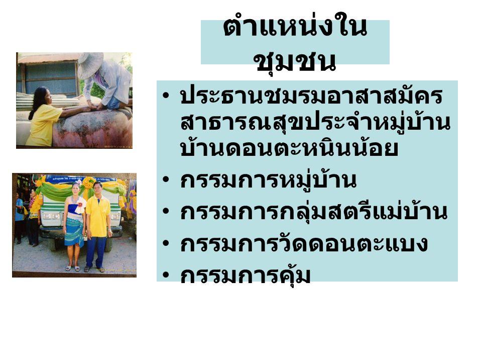 ตำแหน่งในชุมชน ประธานชมรมอาสาสมัครสาธารณสุขประจำหมู่บ้าน บ้านดอนตะหนินน้อย. กรรมการหมู่บ้าน. กรรมการกลุ่มสตรีแม่บ้าน.