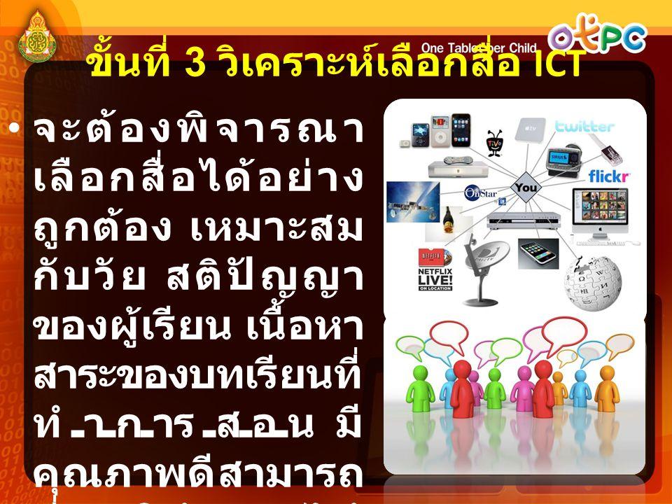 ขั้นที่ 3 วิเคราะห์เลือกสื่อ ICT
