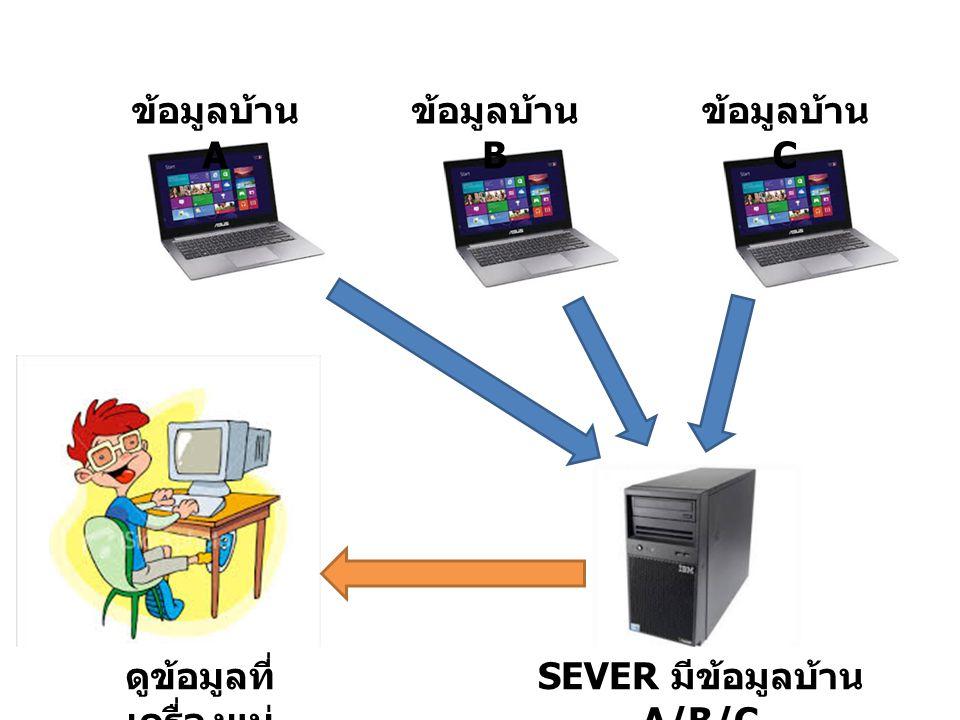 ดูข้อมูลที่เครื่องแม่ SEVER มีข้อมูลบ้าน A/B/C