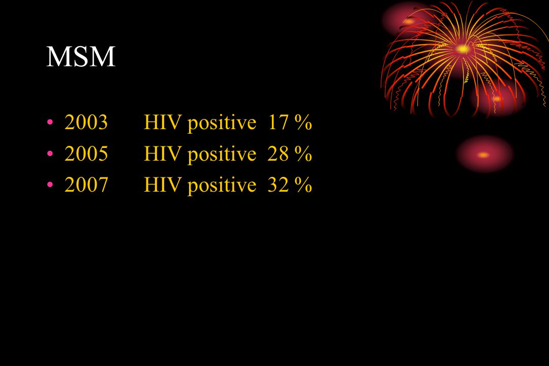 MSM 2003 HIV positive 17 % 2005 HIV positive 28 %