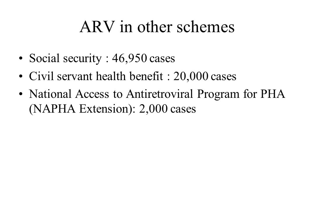 ARV in other schemes Social security : 46,950 cases