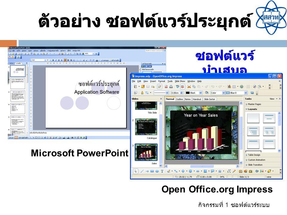 ตัวอย่าง ซอฟต์แวร์ประยุกต์ Open Office.org Impress
