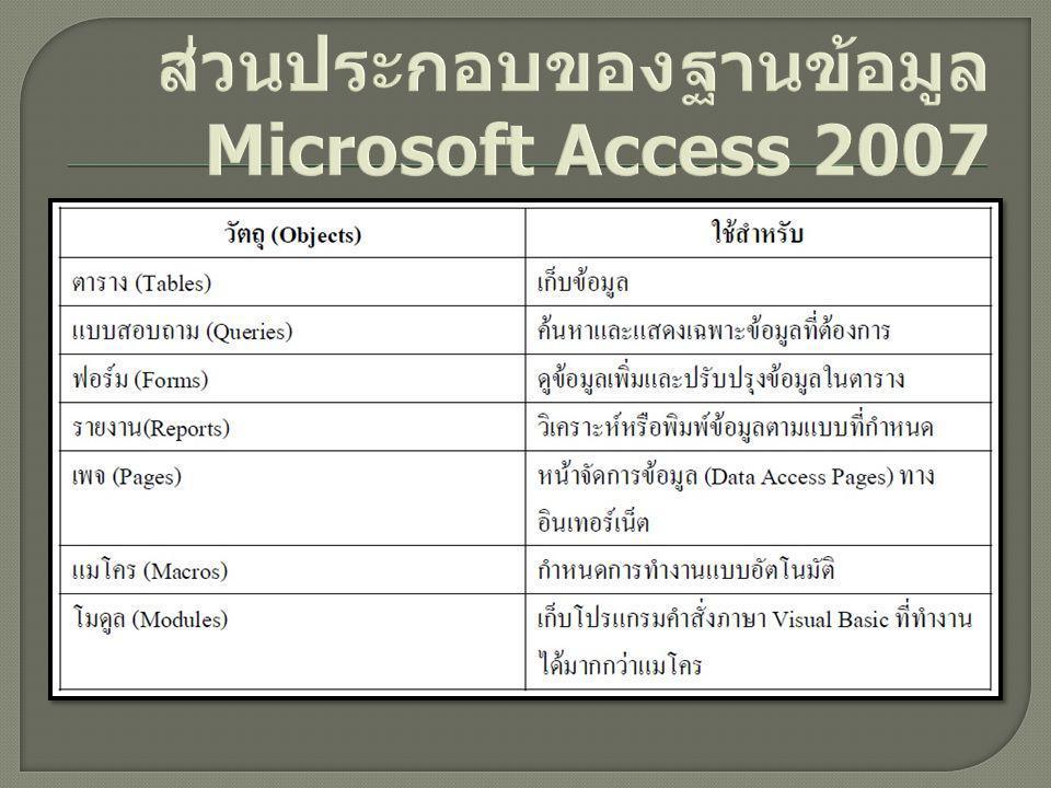 ส่วนประกอบของฐานข้อมูล Microsoft Access 2007