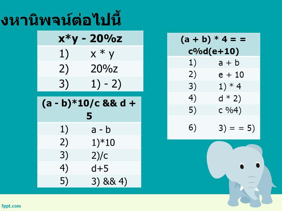 จงหานิพจน์ต่อไปนี้ x*y - 20%z 1) x * y 2) 20%z 3) 1) - 2)