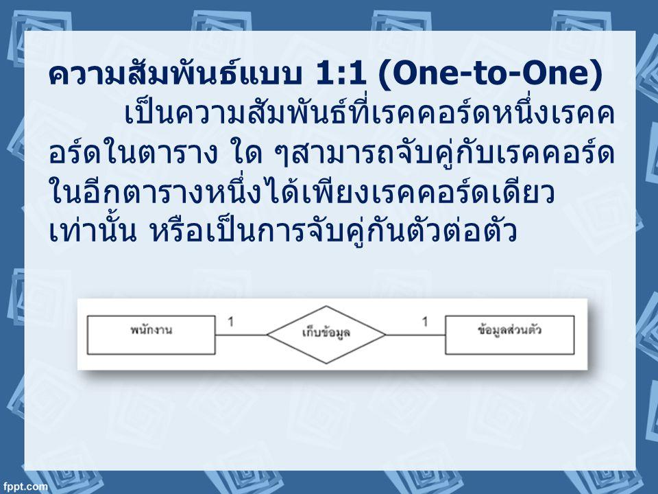 ความสัมพันธ์แบบ 1:1 (One-to-One)