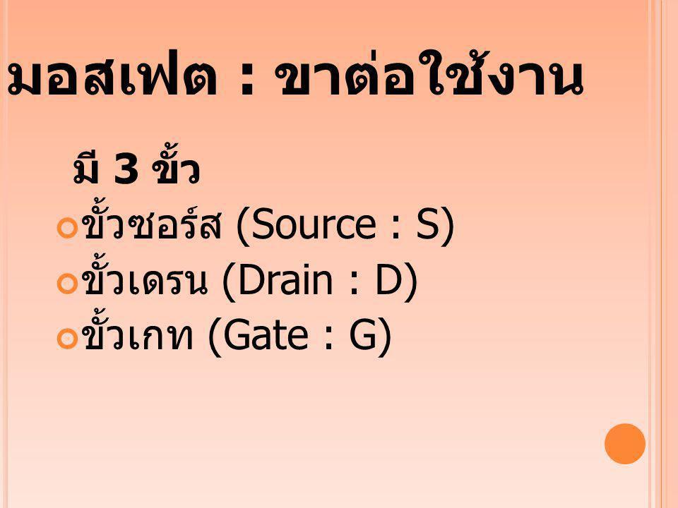 ขั้วซอร์ส (Source : S) ขั้วเดรน (Drain : D) ขั้วเกท (Gate : G)