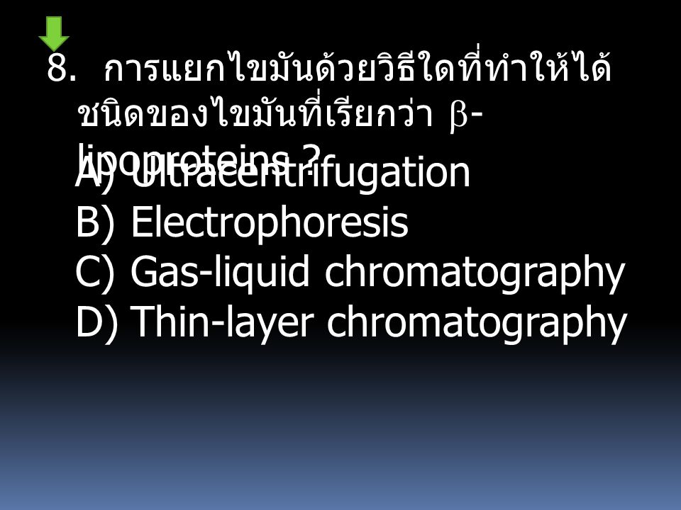 Gas-liquid chromatography Thin-layer chromatography