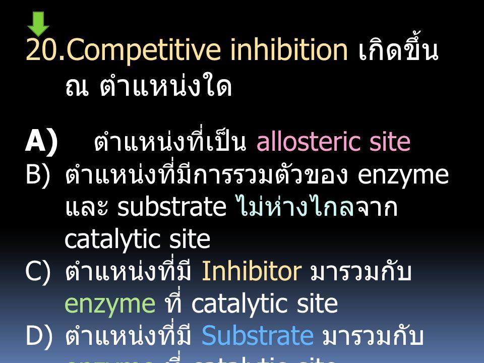 Competitive inhibition เกิดขึ้น ณ ตำแหน่งใด