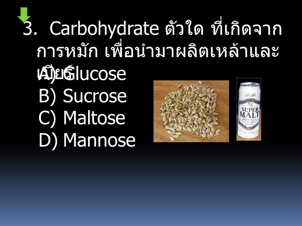 3. Carbohydrate ตัวใด ที่เกิดจากการหมัก เพื่อนำมา ผลิตเหล้าและเบียร์