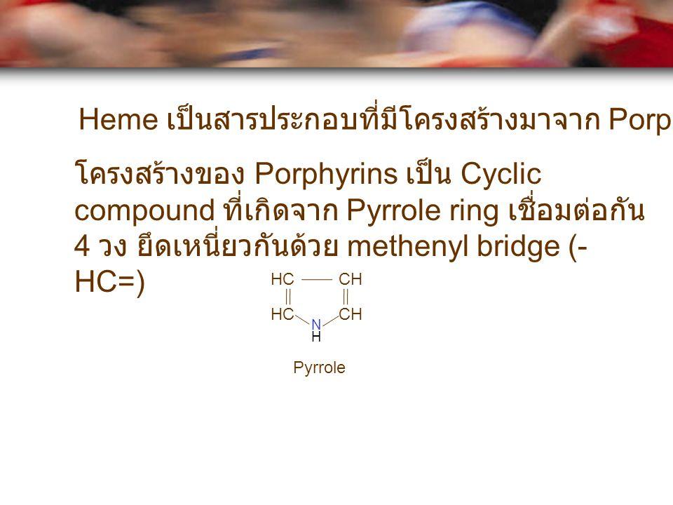 Heme เป็นสารประกอบที่มีโครงสร้างมาจาก Porphyrins