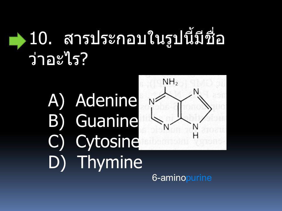 10. สารประกอบในรูปนี้มีชื่อว่าอะไร A) Adenine B) Guanine C) Cytosine
