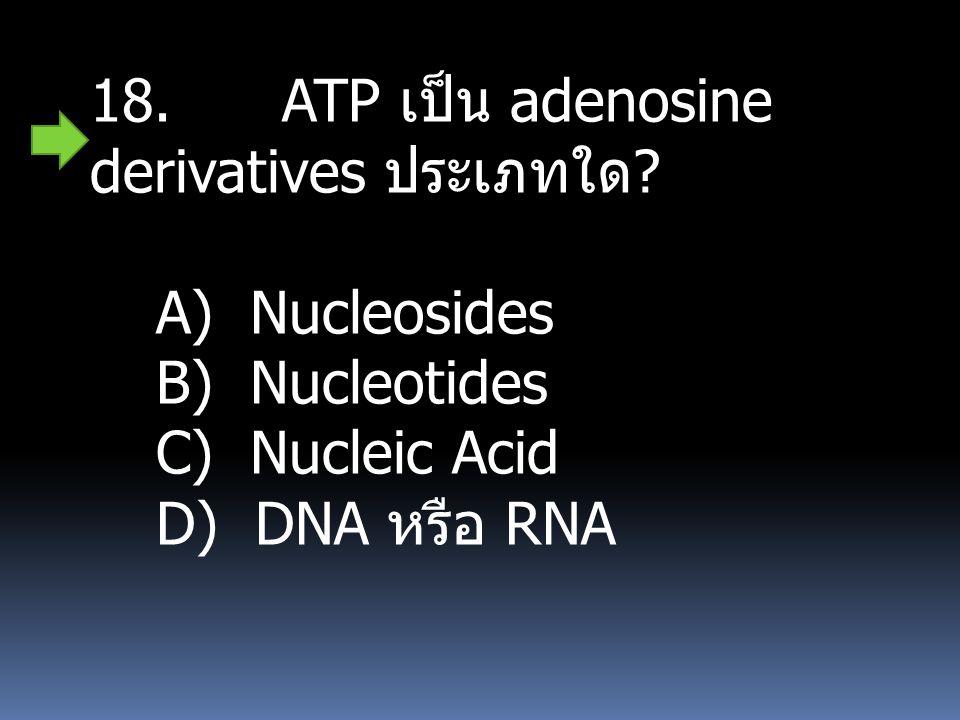 18. ATP เป็น adenosine derivatives ประเภทใด