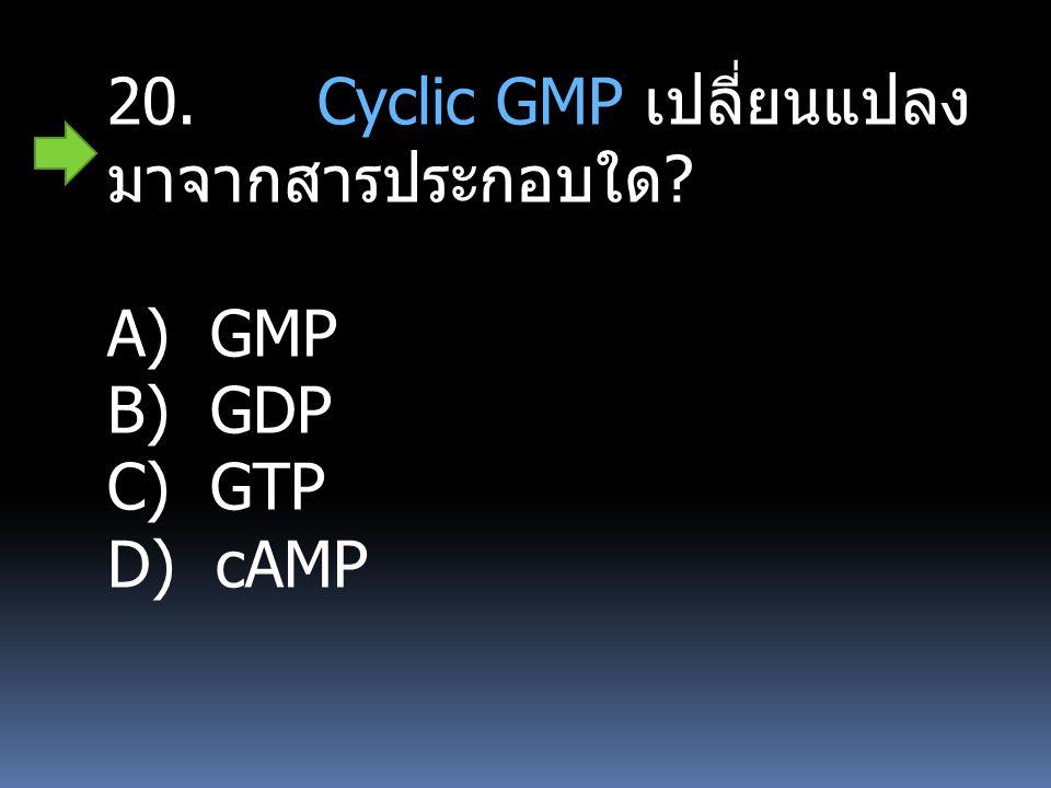20. Cyclic GMP เปลี่ยนแปลงมาจากสารประกอบใด