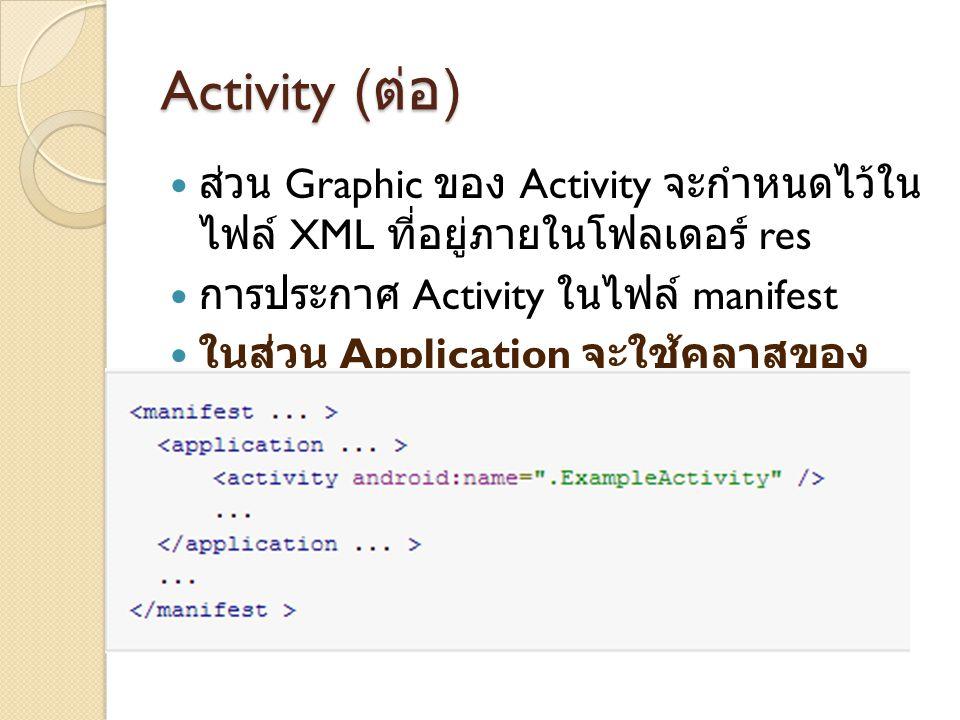 Activity (ต่อ) ส่วน Graphic ของ Activity จะกำหนดไว้ในไฟล์ XML ที่อยู่ภายในโฟลเดอร์ res. การประกาศ Activity ในไฟล์ manifest.