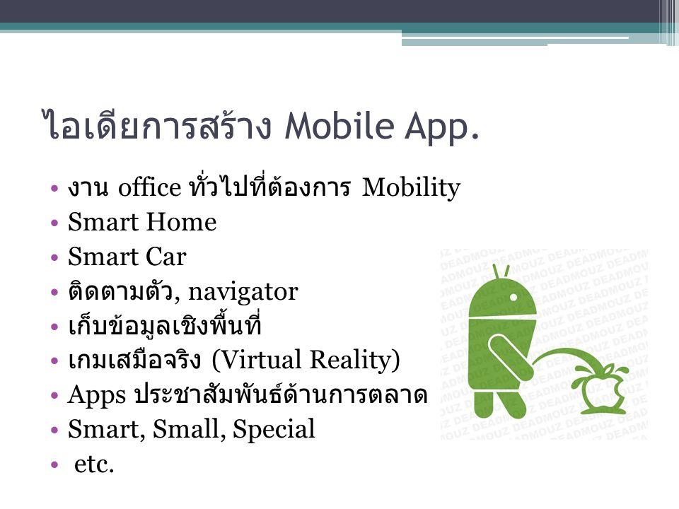 ไอเดียการสร้าง Mobile App.