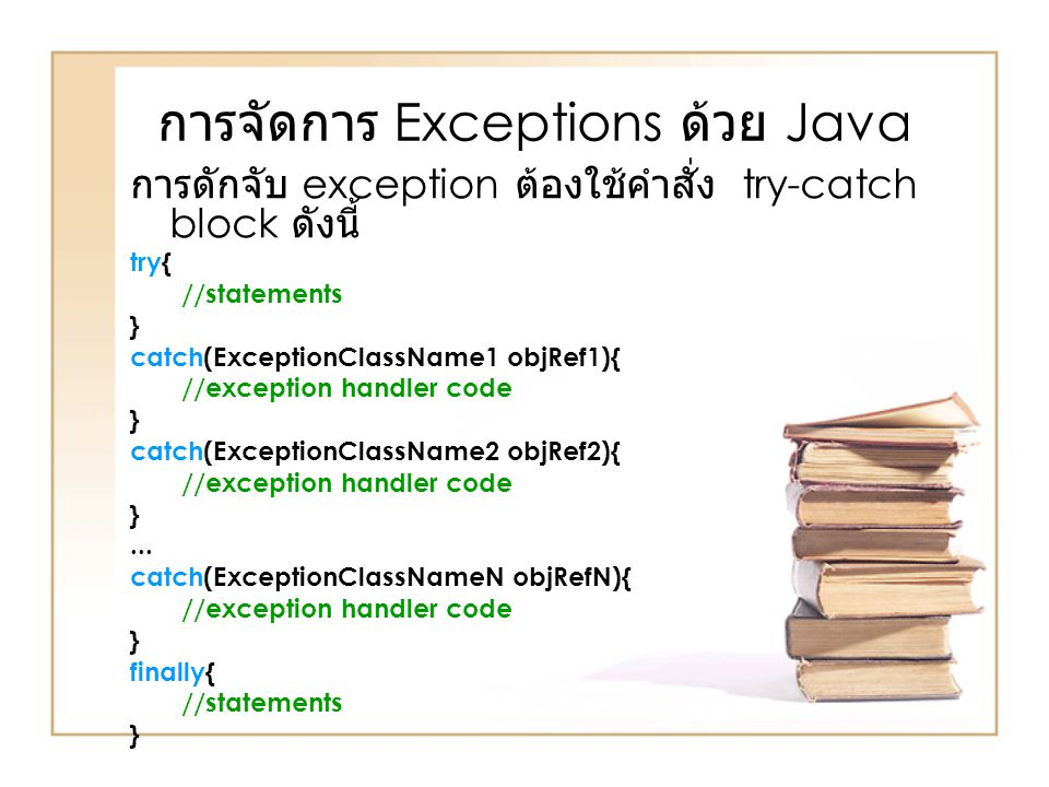 การจัดการ Exceptions ด้วย Java