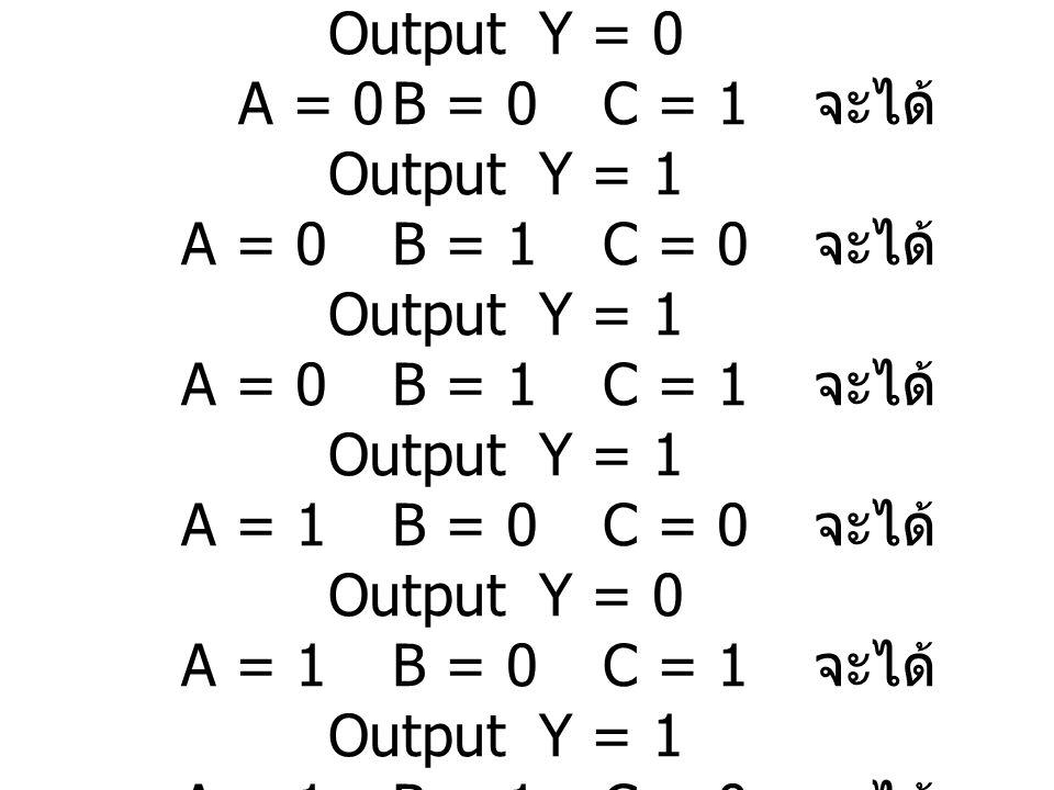 วิธีทำ เมื่อA = 0 B = 0 C = 0 จะได้ Output Y = 0