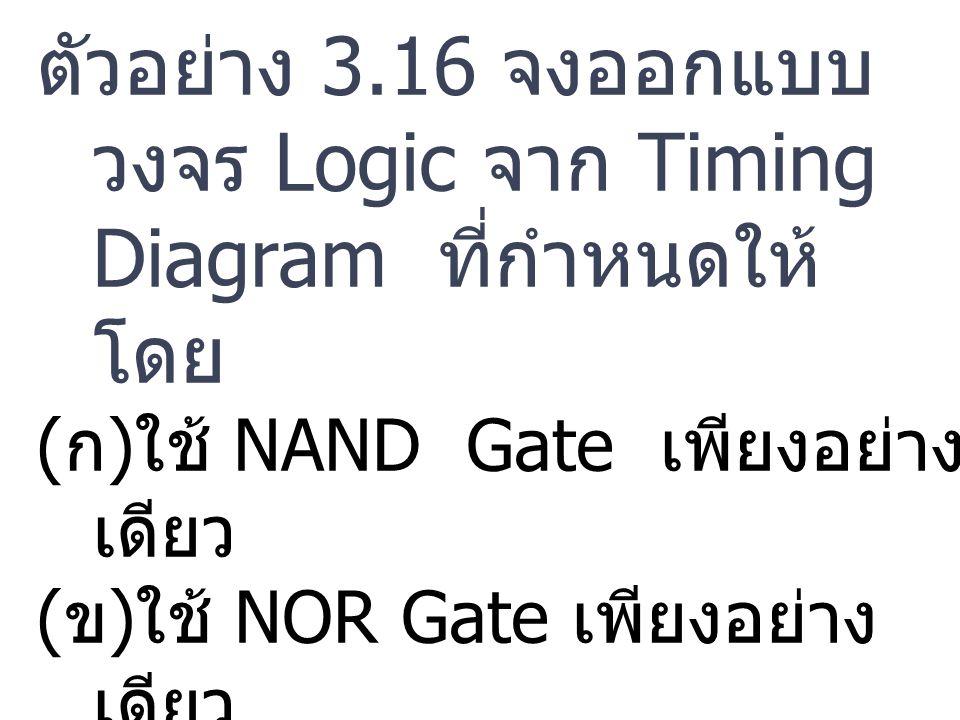 ตัวอย่าง 3.16 จงออกแบบวงจร Logic จาก Timing Diagram ที่กำหนดให้ โดย