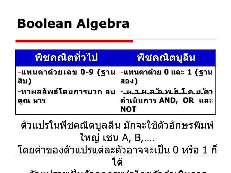 Boolean Algebra พีชคณิตทั่วไป พีชคณิตบูลีน