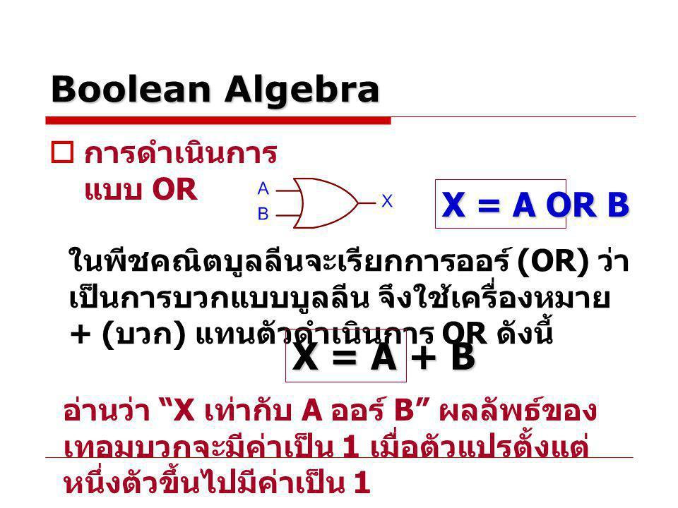 X = A + B Boolean Algebra X = A OR B การดำเนินการแบบ OR