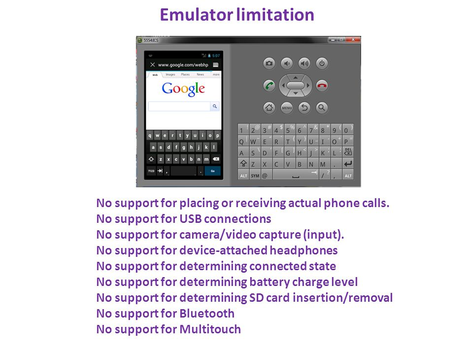 Emulator limitation No support for placing or receiving actual phone calls. No support for USB connections.