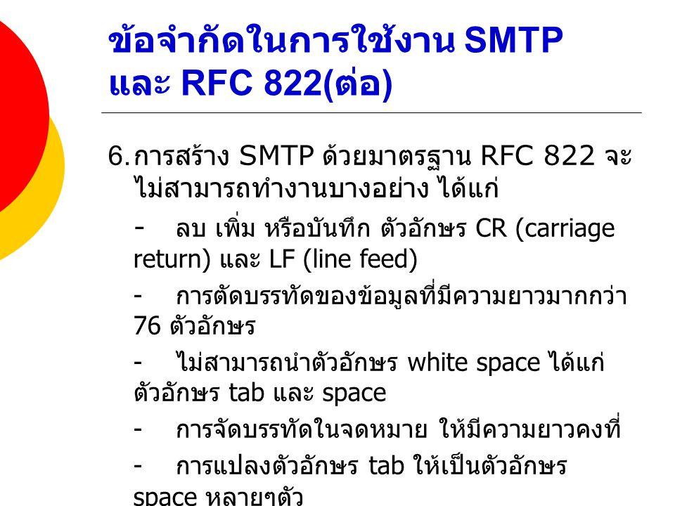 ข้อจำกัดในการใช้งาน SMTP และ RFC 822(ต่อ)