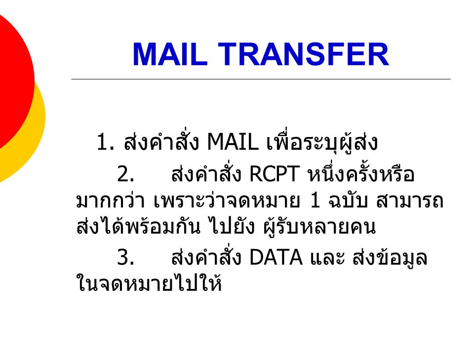 MAIL TRANSFER 1. ส่งคำสั่ง MAIL เพื่อระบุผู้ส่ง