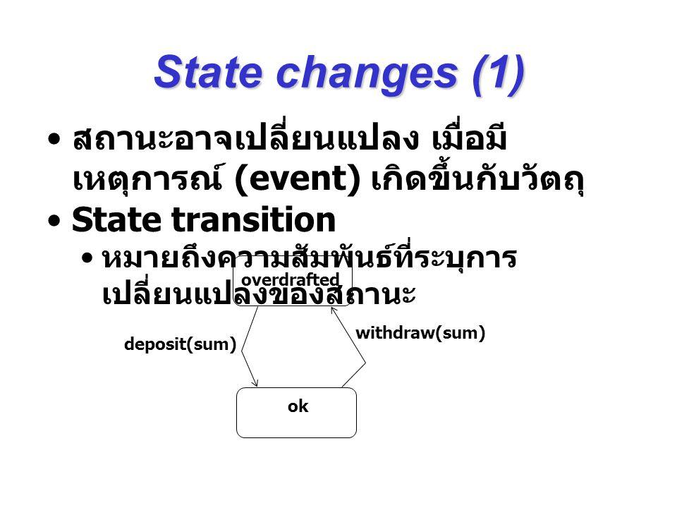 State changes (1) สถานะอาจเปลี่ยนแปลง เมื่อมีเหตุการณ์ (event) เกิดขึ้นกับวัตถุ State transition. หมายถึงความสัมพันธ์ที่ระบุการเปลี่ยนแปลงของสถานะ.