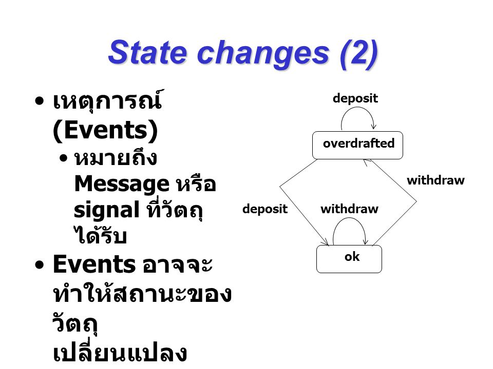 State changes (2) เหตุการณ์ (Events)