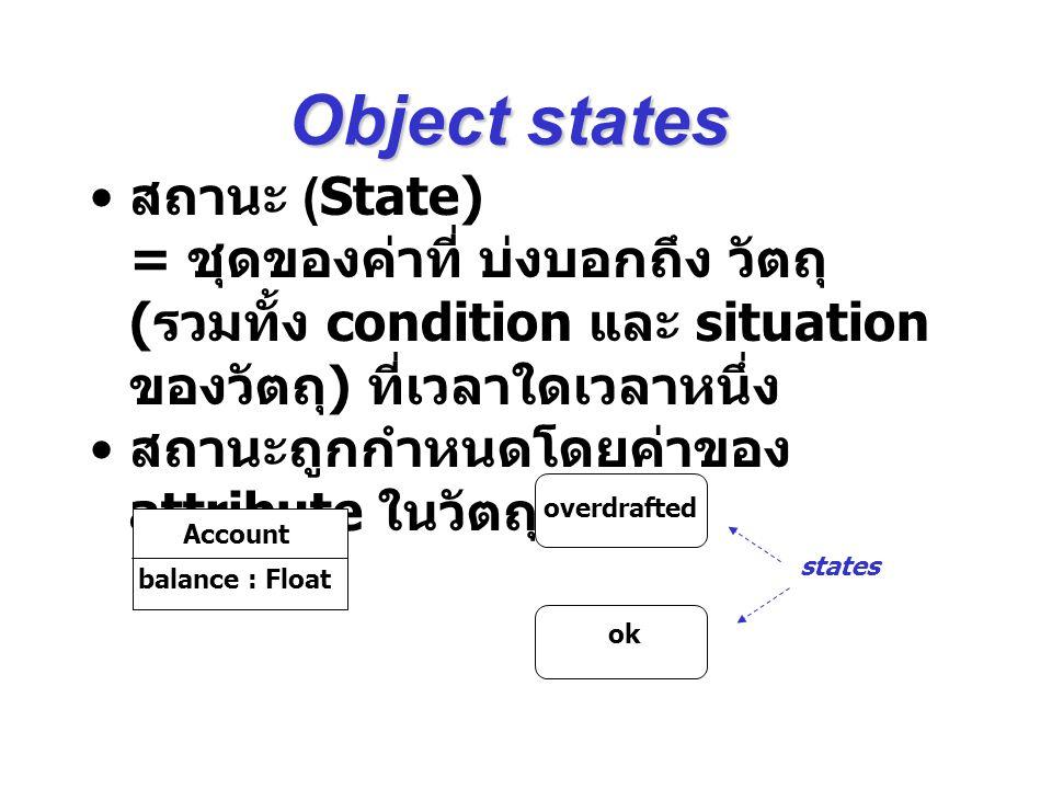 Object states สถานะ (State) = ชุดของค่าที่ บ่งบอกถึง วัตถุ (รวมทั้ง condition และ situation ของวัตถุ) ที่เวลาใดเวลาหนึ่ง.