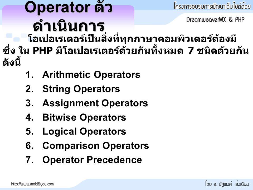 Operator ตัวดำเนินการ