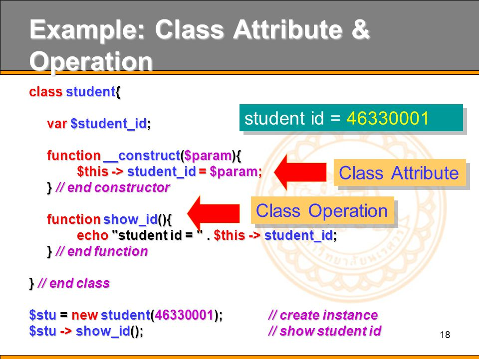 Example: Class Attribute & Operation