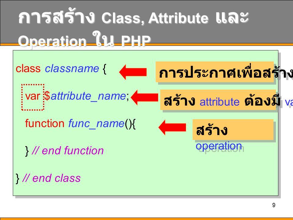 การสร้าง Class, Attribute และ Operation ใน PHP