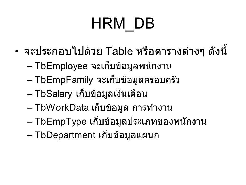 HRM_DB จะประกอบไปด้วย Table หรือตารางต่างๆ ดังนี้