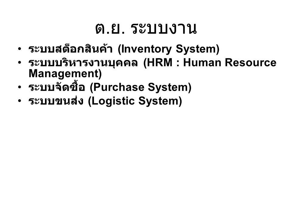 ต.ย. ระบบงาน ระบบสต็อกสินค้า (Inventory System)