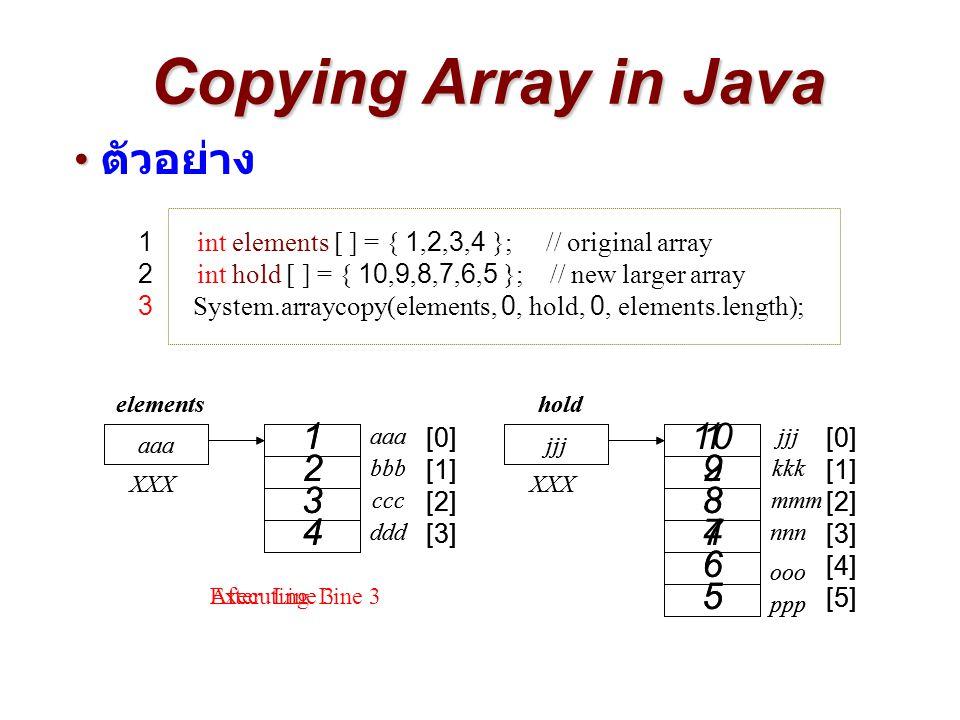 Copying Array in Java ตัวอย่าง 2 4 3 1 6 5 2 4 3 1 9 8 10 7 6 5