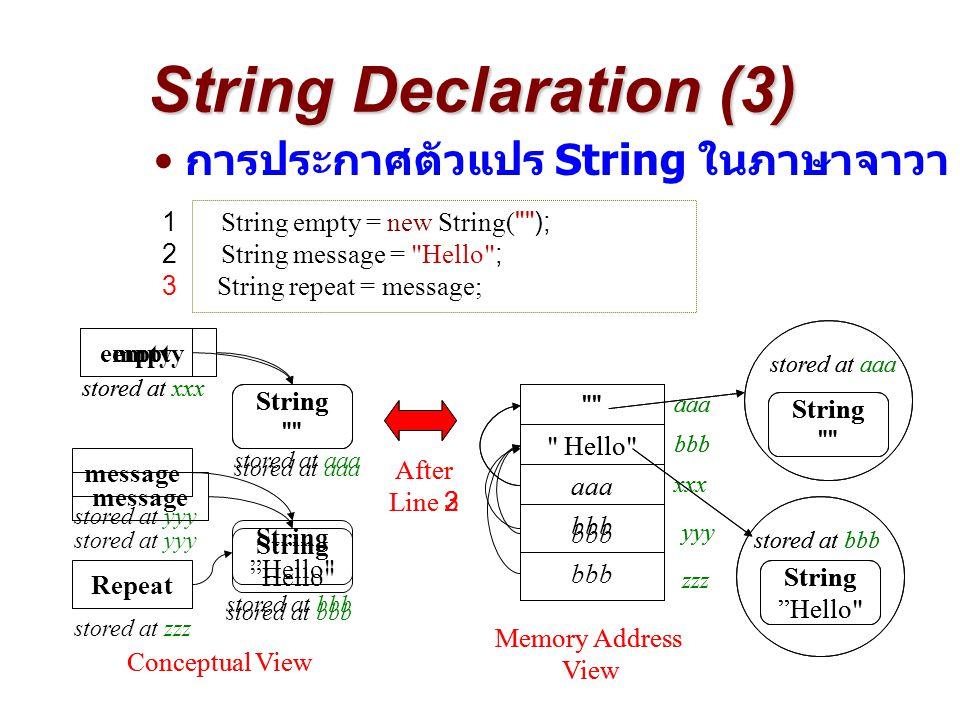 String Declaration (3) การประกาศตัวแปร String ในภาษาจาวา