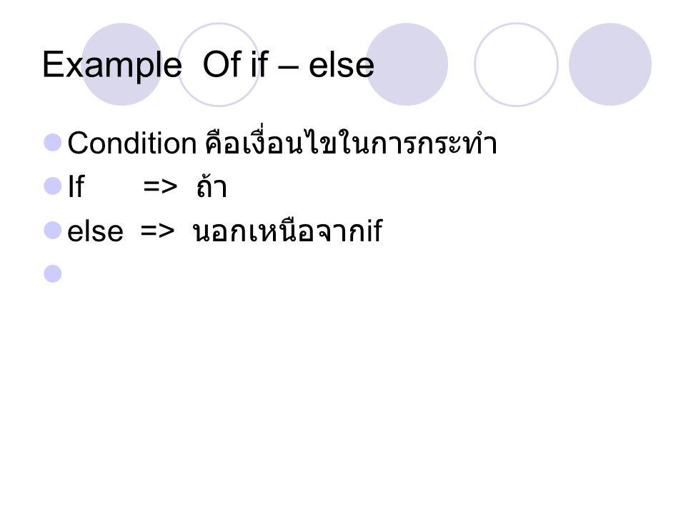 Example Of if – else Condition คือเงื่อนไขในการกระทำ If => ถ้า