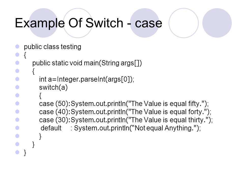 Example Of Switch - case