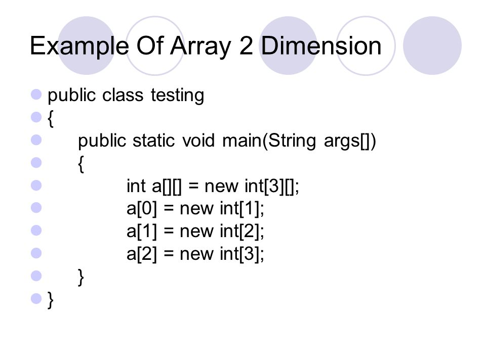 Example Of Array 2 Dimension