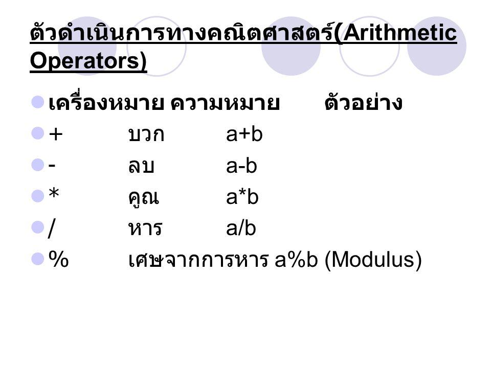 ตัวดำเนินการทางคณิตศาสตร์(Arithmetic Operators)