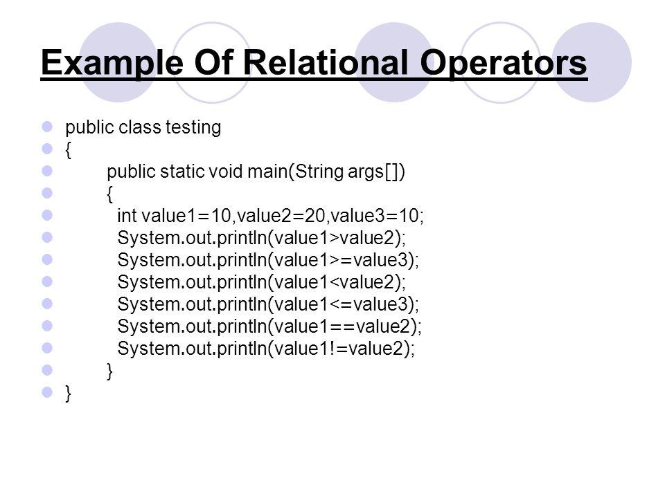Example Of Relational Operators