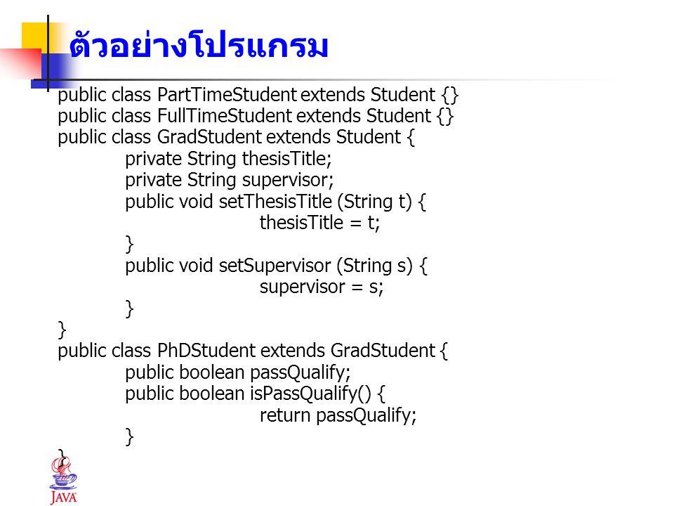 ตัวอย่างโปรแกรม public class PartTimeStudent extends Student {}