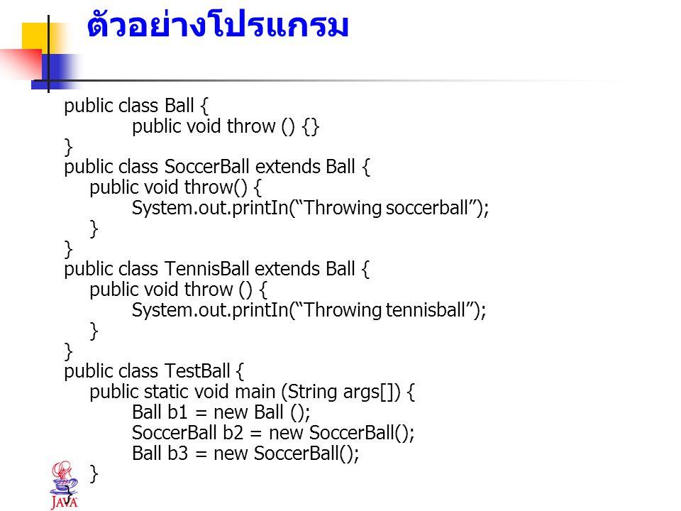 ตัวอย่างโปรแกรม public class Ball { public void throw () {} }