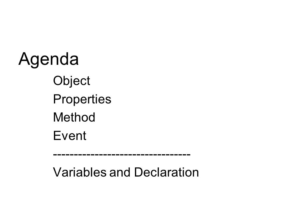 Agenda Object Properties Method Event