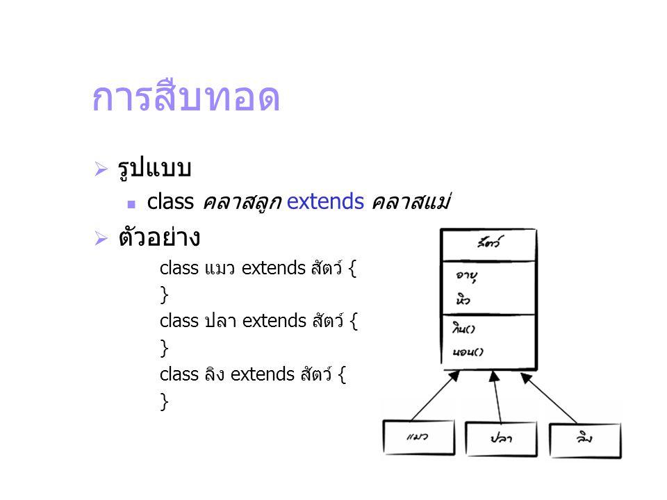 การสืบทอด รูปแบบ ตัวอย่าง class คลาสลูก extends คลาสแม่