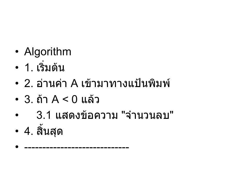 Algorithm 1. เริ่มต้น. 2. อ่านค่า A เข้ามาทางแป้นพิมพ์ 3. ถ้า A < 0 แล้ว. 3.1 แสดงข้อความ จำนวนลบ