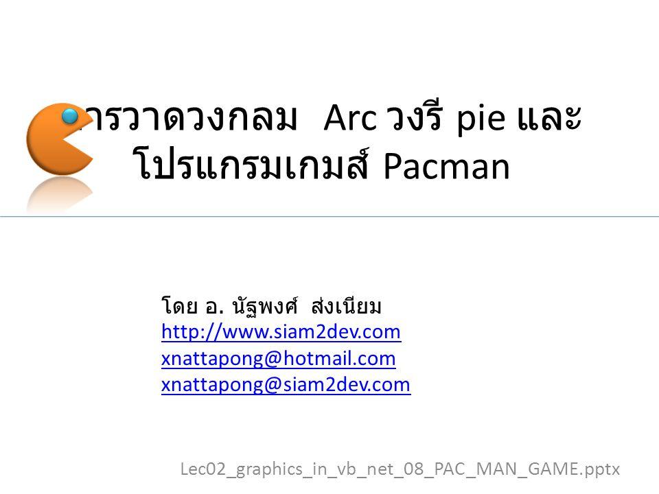 การวาดวงกลม Arc วงรี pie และ โปรแกรมเกมส์ Pacman