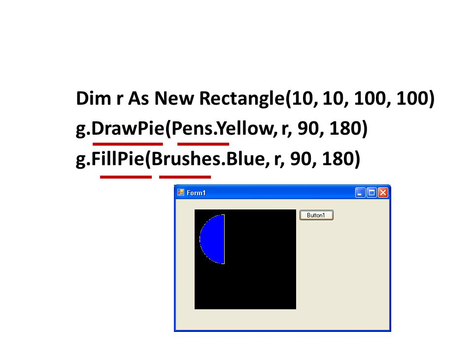 Dim r As New Rectangle(10, 10, 100, 100) g. DrawPie(Pens
